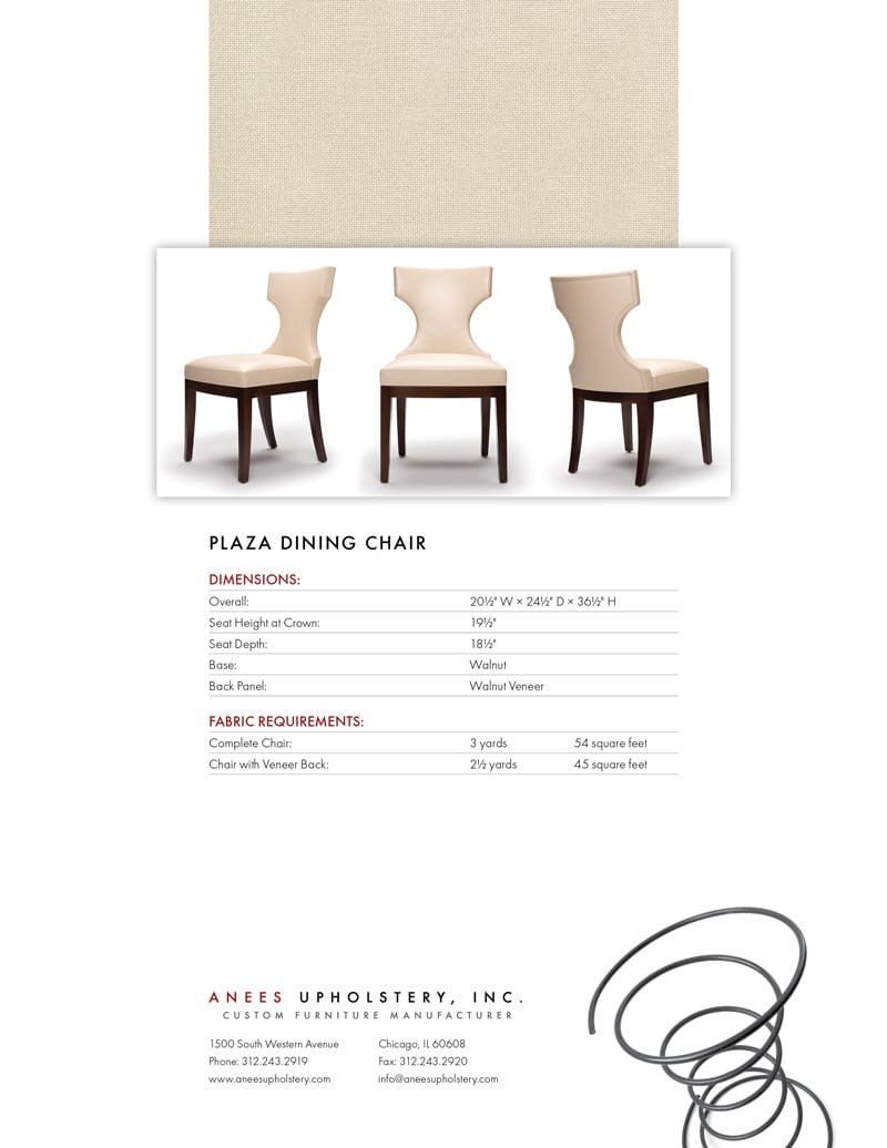Furniture Spec Sheet Template Anees Upholstery Catalog N A Designlab