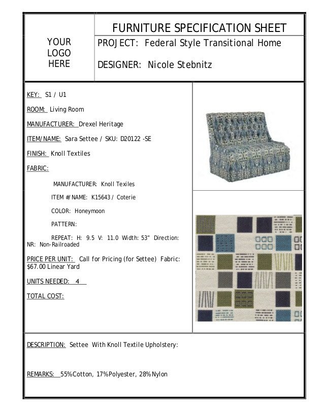 Furniture Spec Sheet Template Residential Design Interior Project