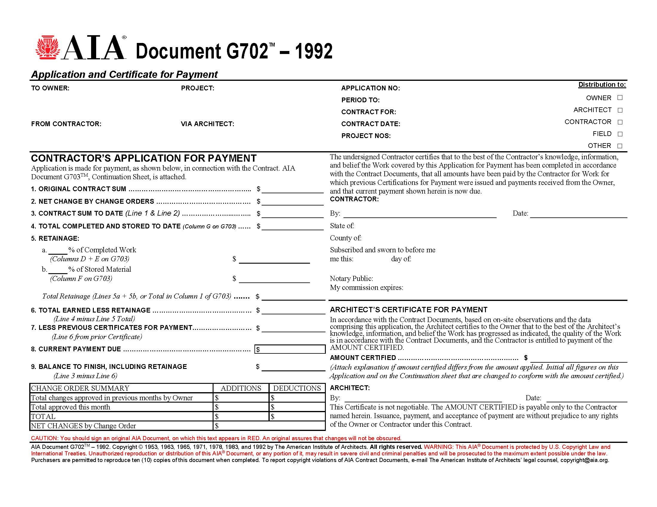 G702 form Excel Aia forms G702 & G703 Application and Certificate for Payment