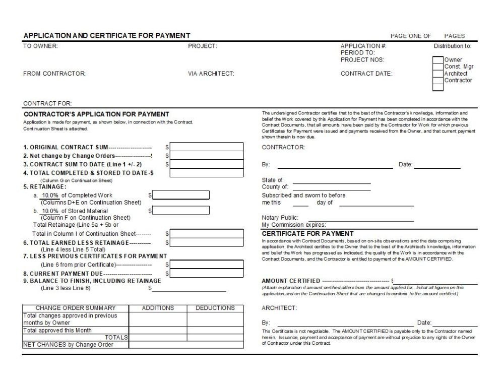 G702 form Excel Aia G702 Application for Payment and G703 Continuation