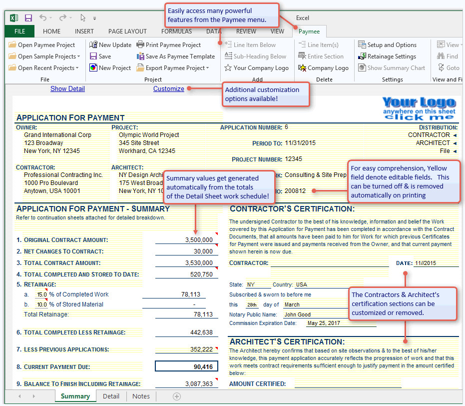 G702 form Excel Aia G702 software for Excel