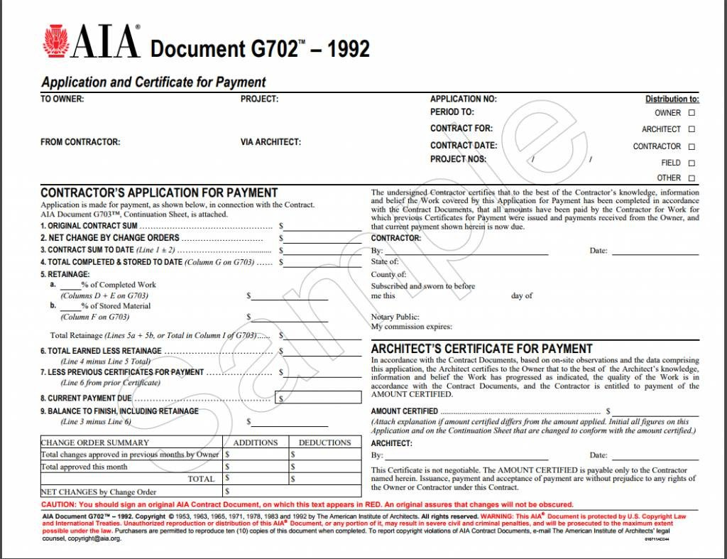 G702 form Excel G702–1992 Application and Certificate for Payment Aia