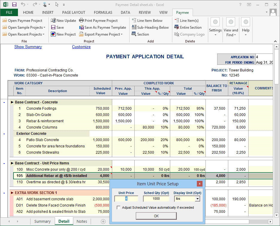G702 form Excel Progress Payment Billing software Print to Aia G702