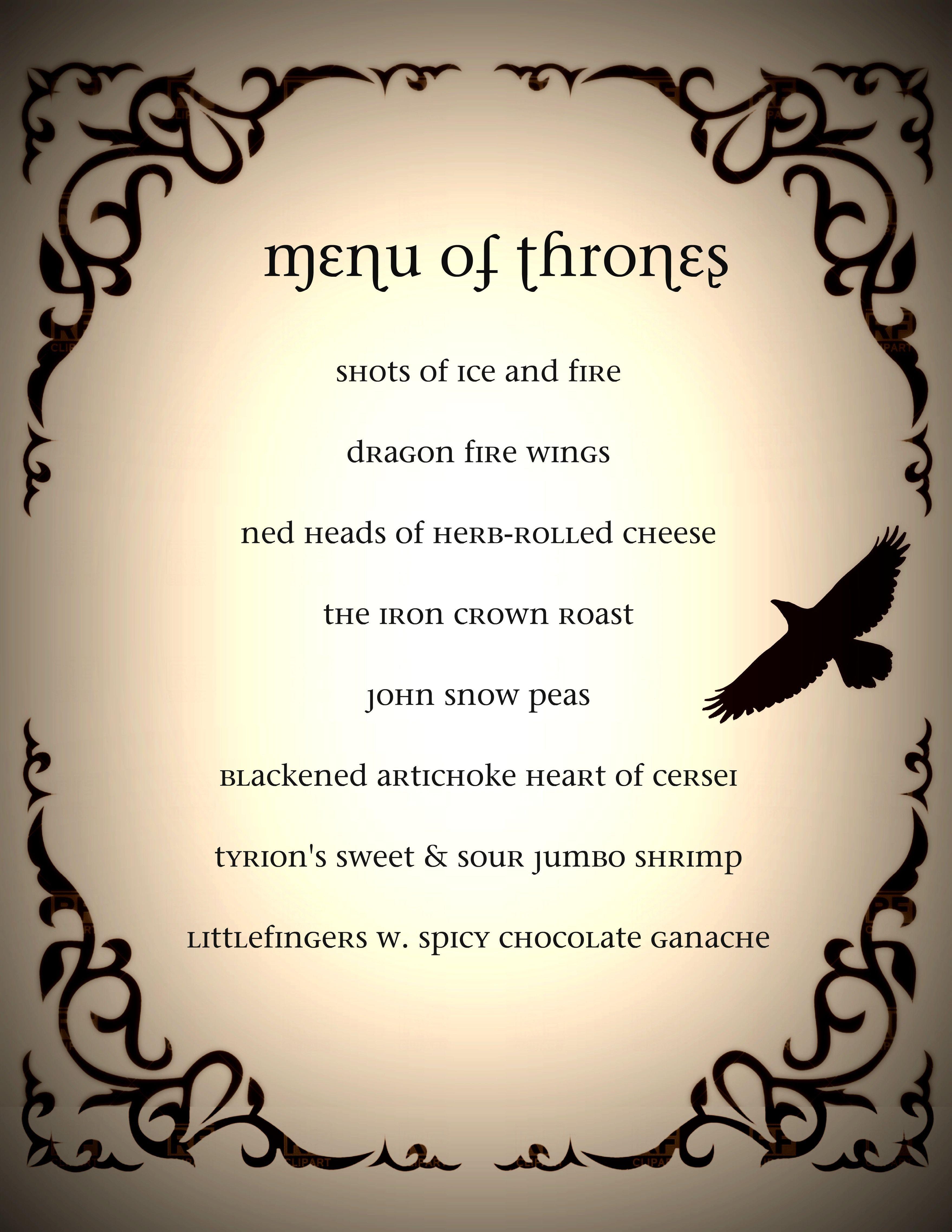 Game Of Thrones Menu Template Game Of Thrones Dinner Party Menu Got