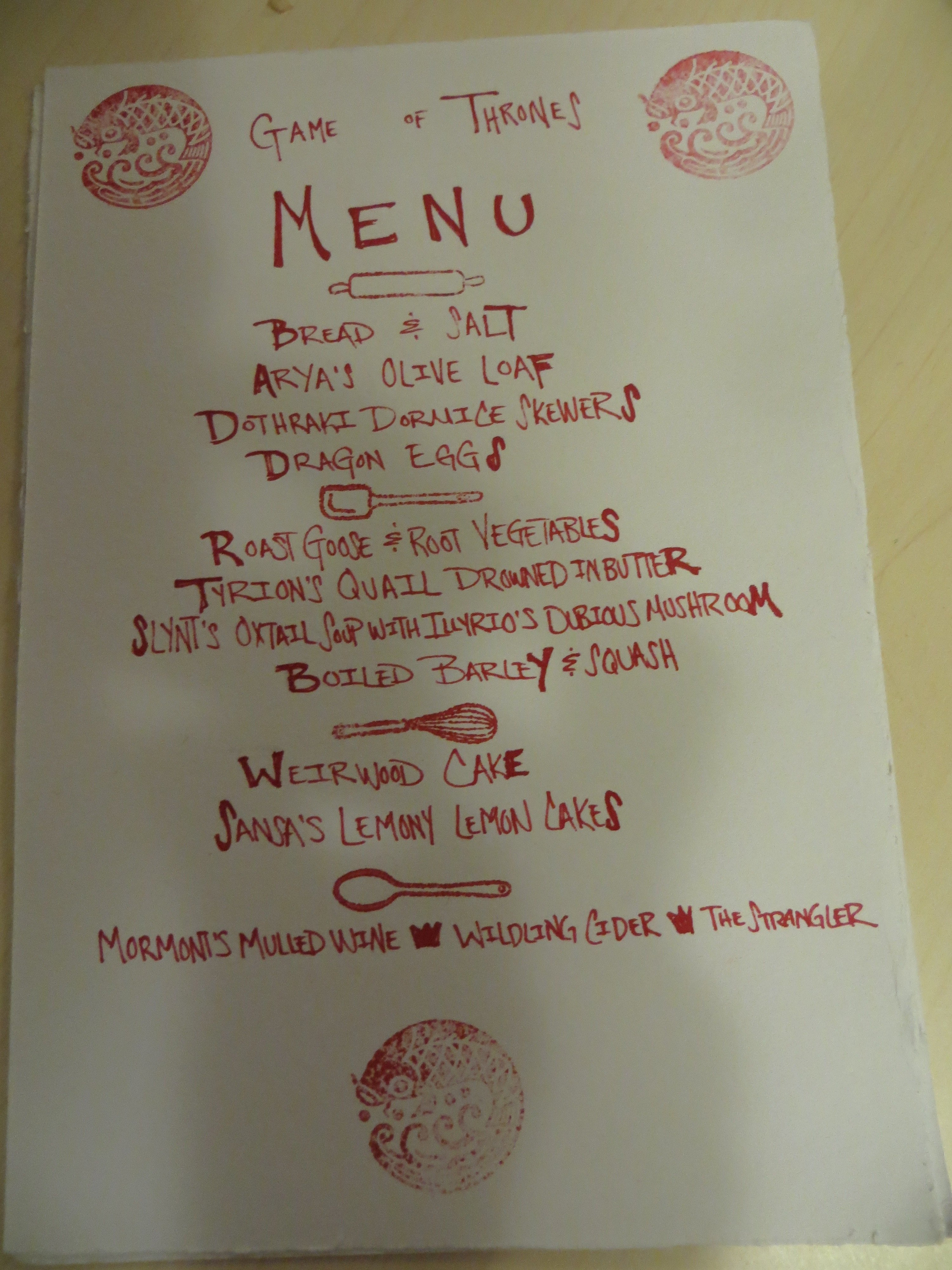 Game Of Thrones Menu Template Game Of Thrones Dinner Party