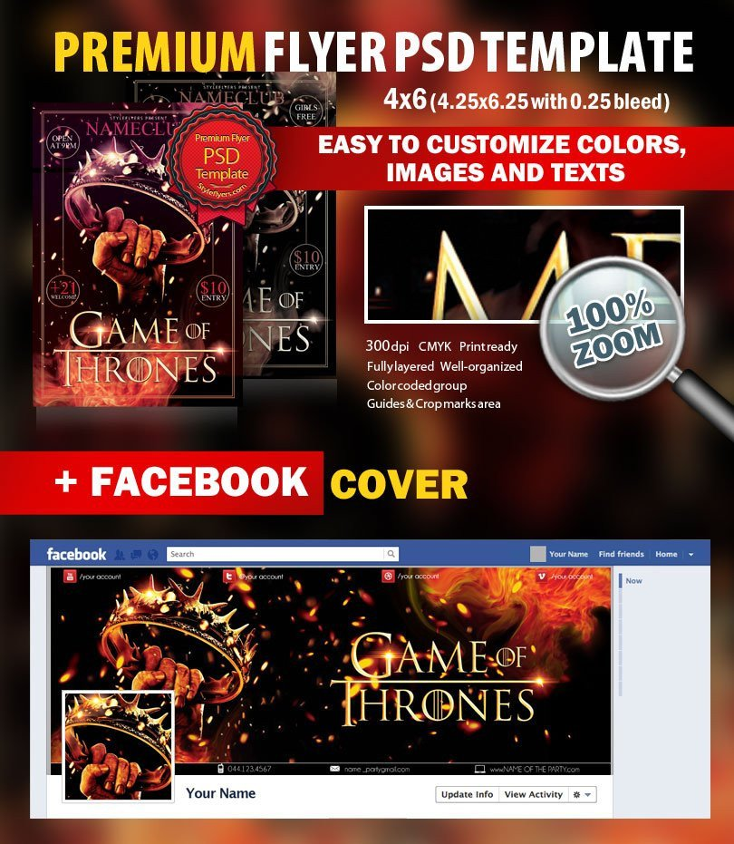 Game Of Thrones Menu Template Game Of Thrones Party Psd Flyer Template 8308 Styleflyers