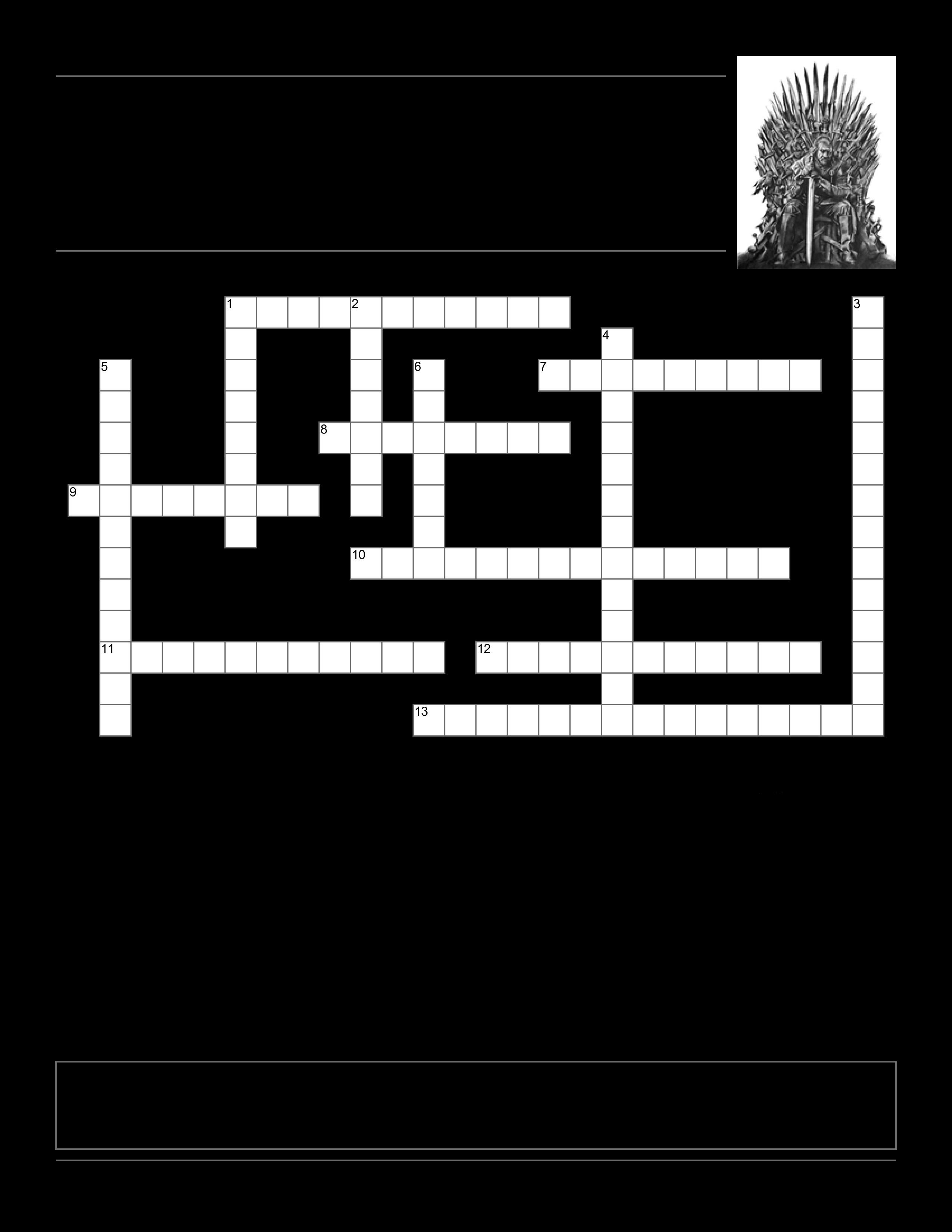 Game Of Thrones Menu Template Game Thrones Crossword