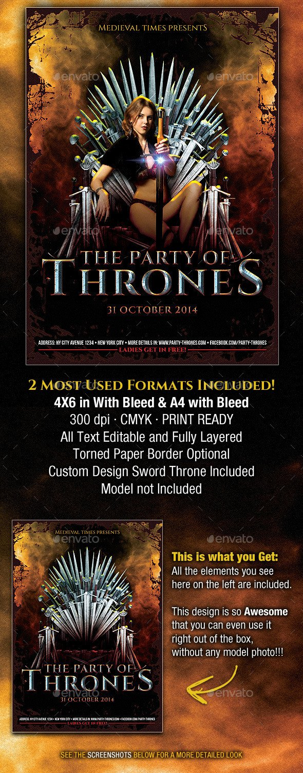Game Of Thrones Menu Template the Party Of Thrones Me Val Flyer by Pvillage