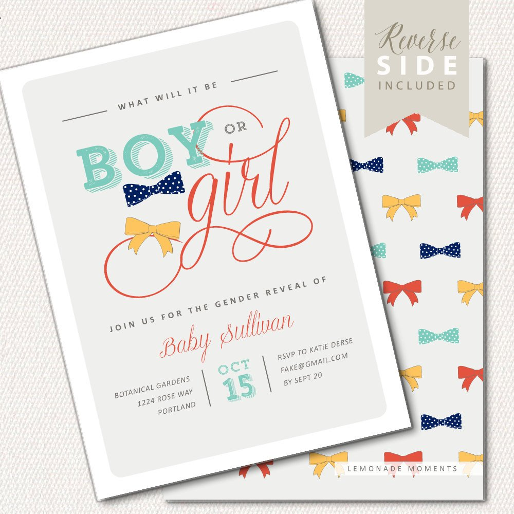 Gender Reveal Invitation Bow Ties or Bows Invitation Baby