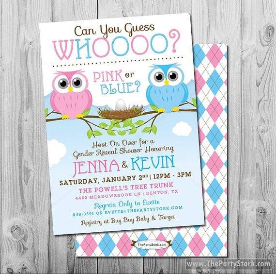 Gender Reveal Invitations Free Gender Reveal Invites Owl Owl Gender Reveal Invitation Owl