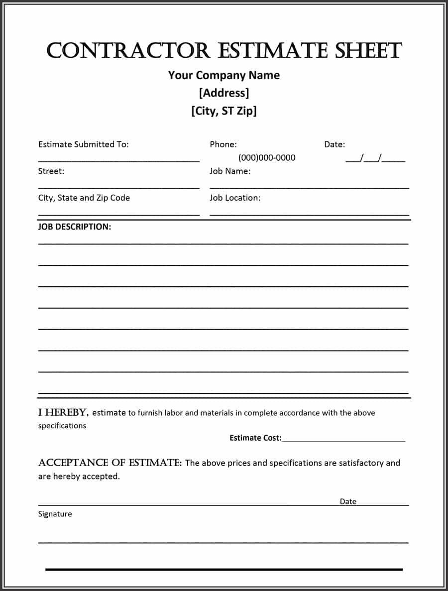 General Contractor Checklist Template 44 Free Estimate Template forms [construction Repair