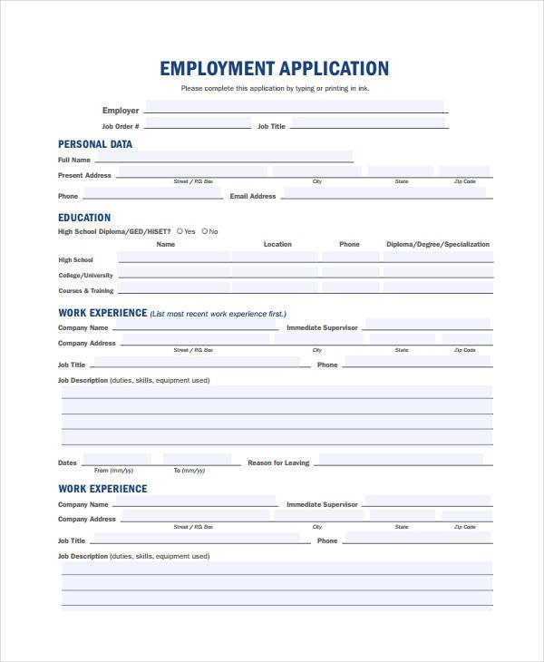 Generic Job Application Template Generic Employment Application Template 8 Free Pdf