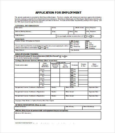 Generic Job Application Template Word Employment Application Template Word 7 Free Word