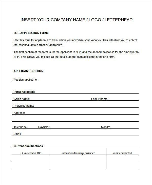 Generic Job Application Template Word Generic Job Application 8 Free Word Pdf Documents