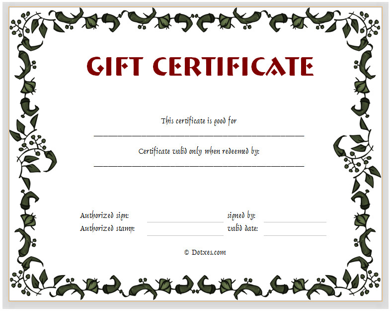 Gift Certificate Template Pages Gift Certificate Template Floral Design Dotxes
