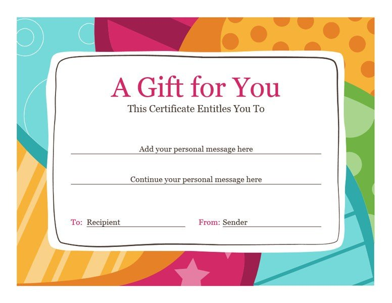 Gift Certificate Template Word Birthday T Certificate Bright Design