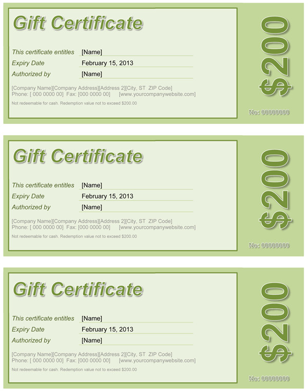 Gift Certificate Template Word Gift Certificate