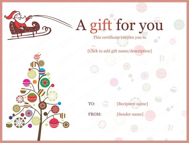 Gift Certificate Templates Free Christmas Gift Certificate Templates Printable