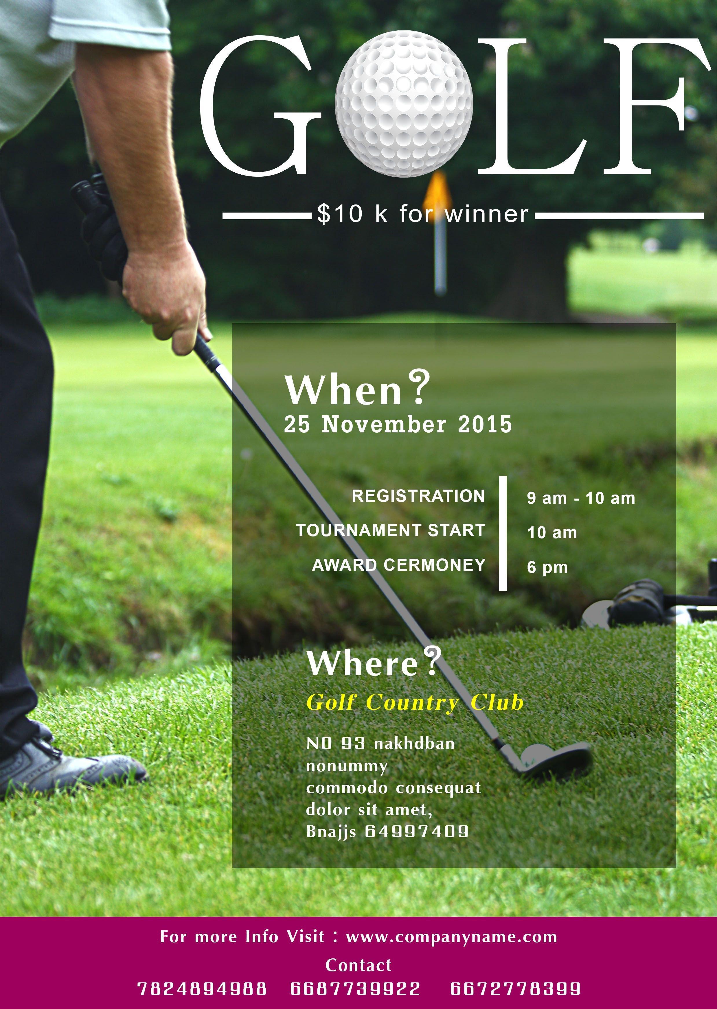 Golf tournament Flyer Template Golf tournament Flyer Template Free