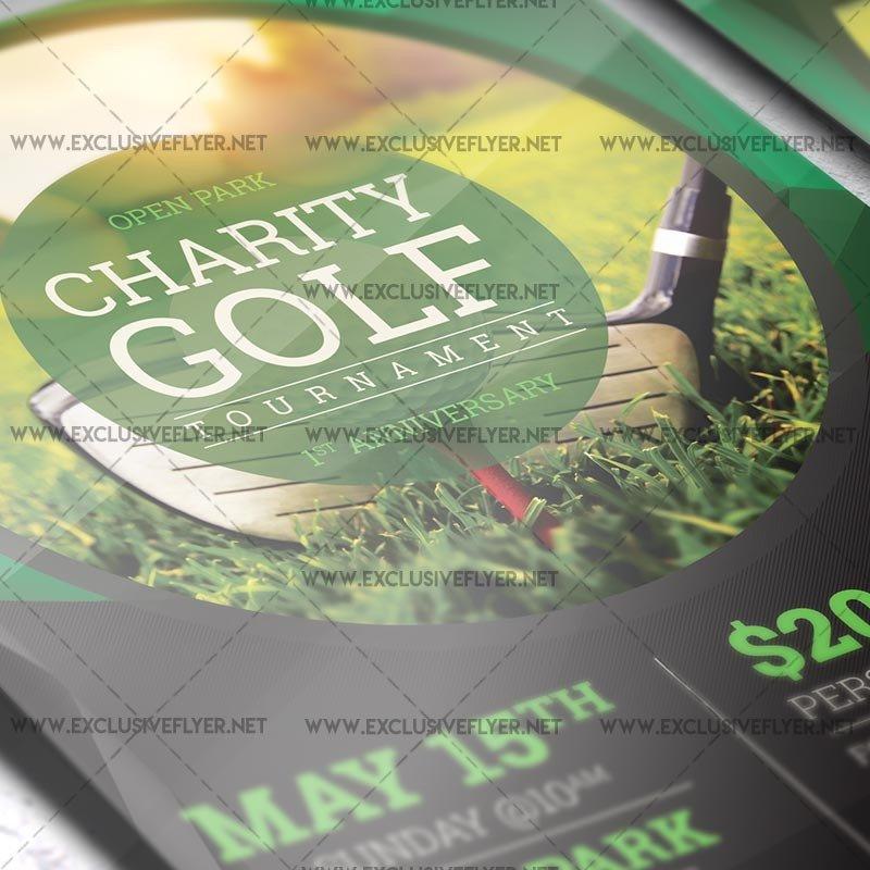 Golf tournament Flyer Template Golf tournament – Premium A5 Flyer Template
