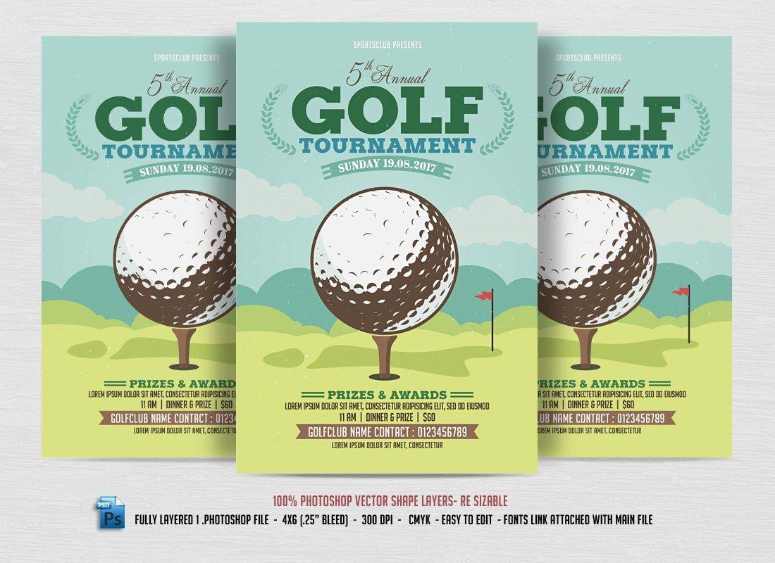 Golf tournament Flyers Template Golf tournament Flyer Flyer Templates Creative Market