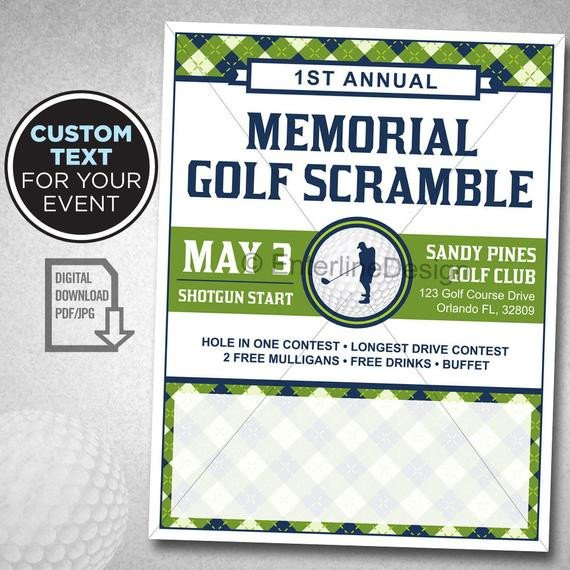 Golf tournament Flyers Template Golf tournament Flyer Poster Template Invitation Custom