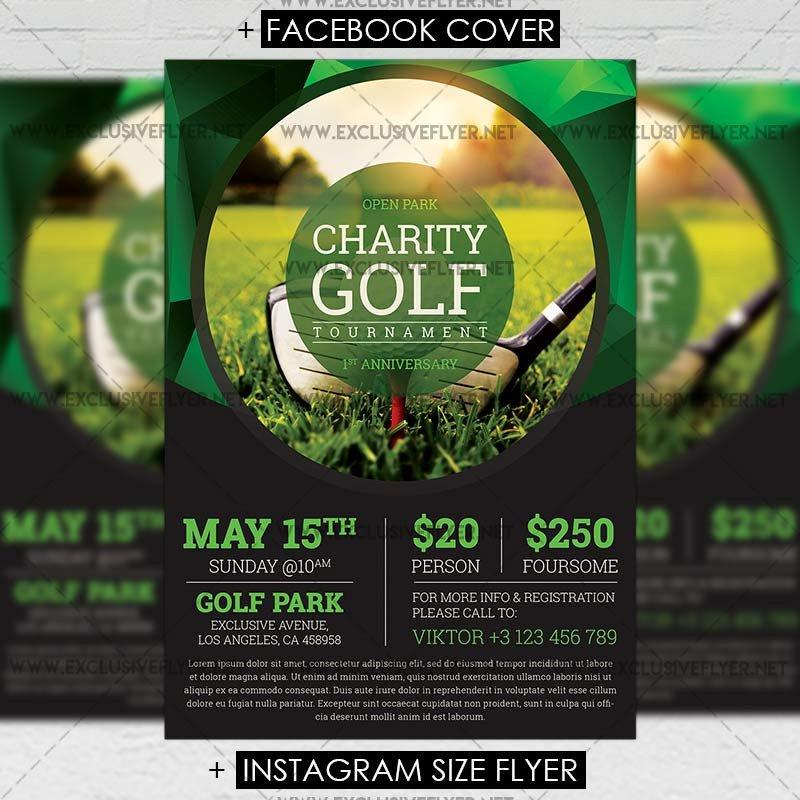 Golf tournament Flyers Template Golf tournament – Premium A5 Flyer Template