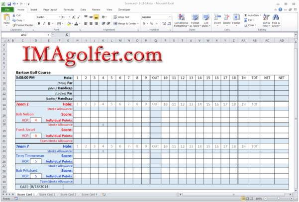 Golf tournament Template Excel Golf Calcutta Auction Spreadsheet Printable Spreadshee