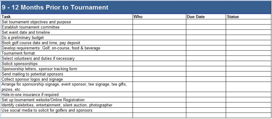 Golf tournament Template Excel Golf tournament Planning Timelines & Bud