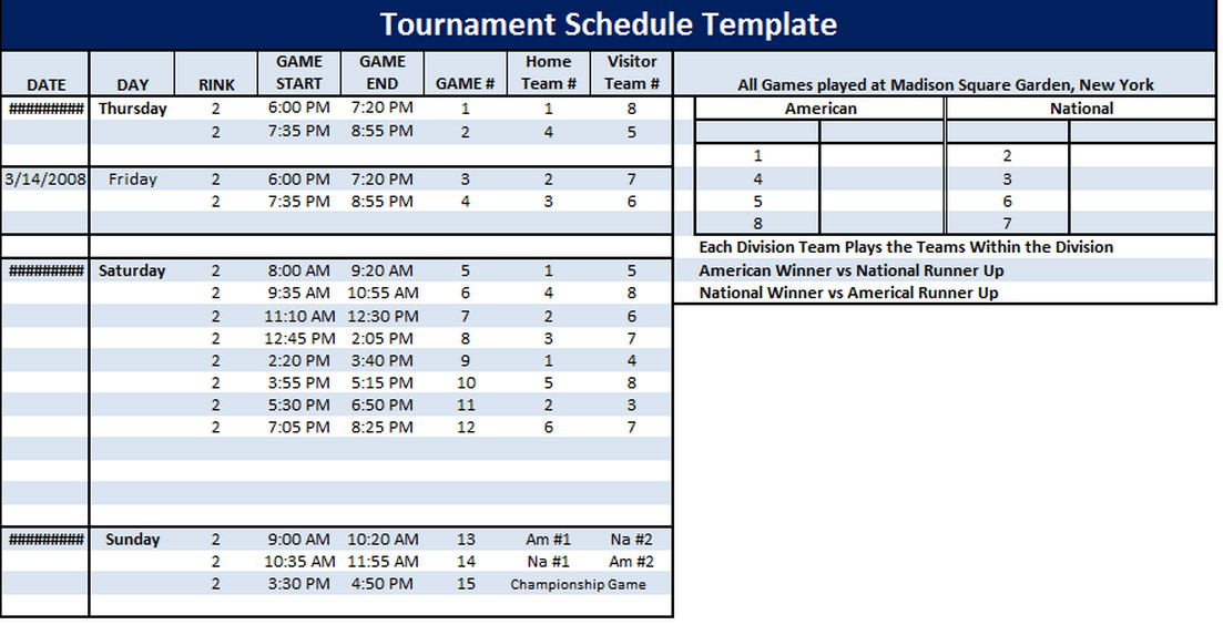 Golf tournament Template Excel tournament Schedule Template 6 Free Templates Schedule