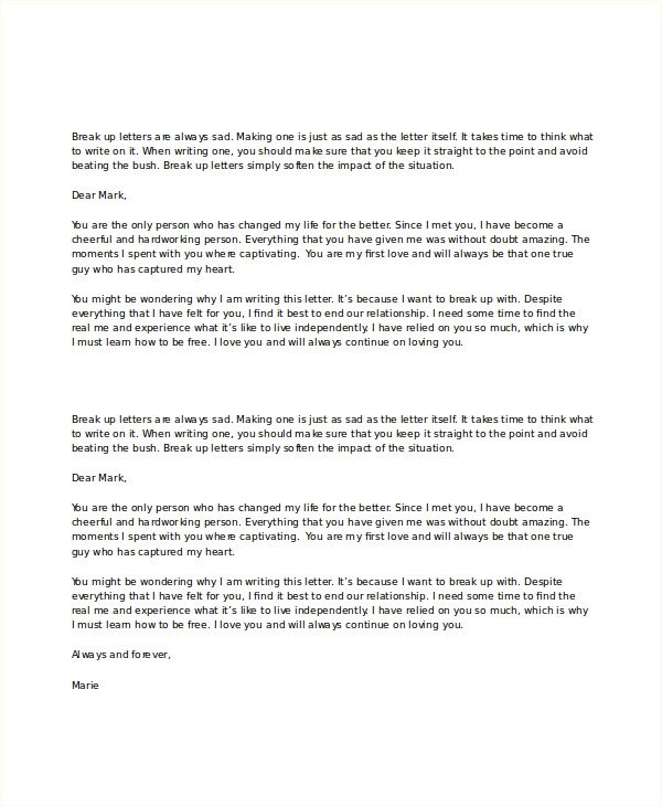 Goodbye Break Up Letter Break Up Letter Template 5 Free Word Pdf Document