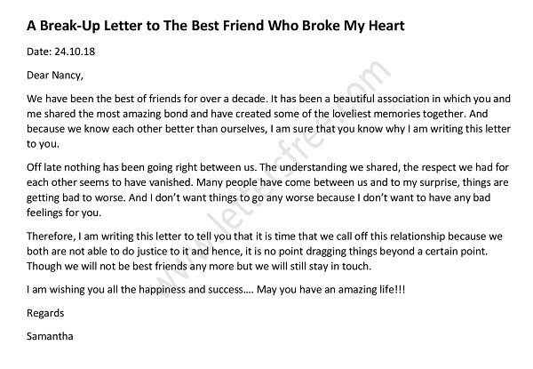 Goodbye Break Up Letter Sample Break Up Letter to Lover Free Letters