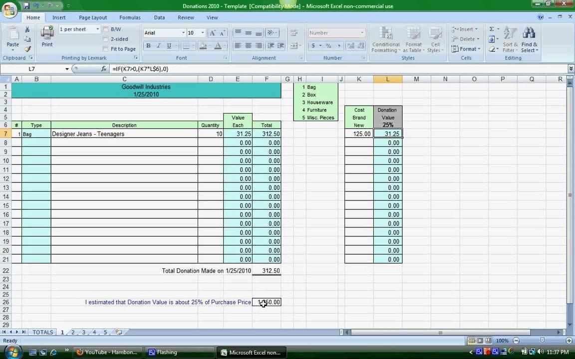 Goodwill Donation Excel Spreadsheet Donation Spreadsheet Instructions