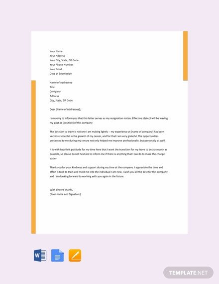 Google Docs Letter Template 142 Free Resignation Letter Templates In Google Docs