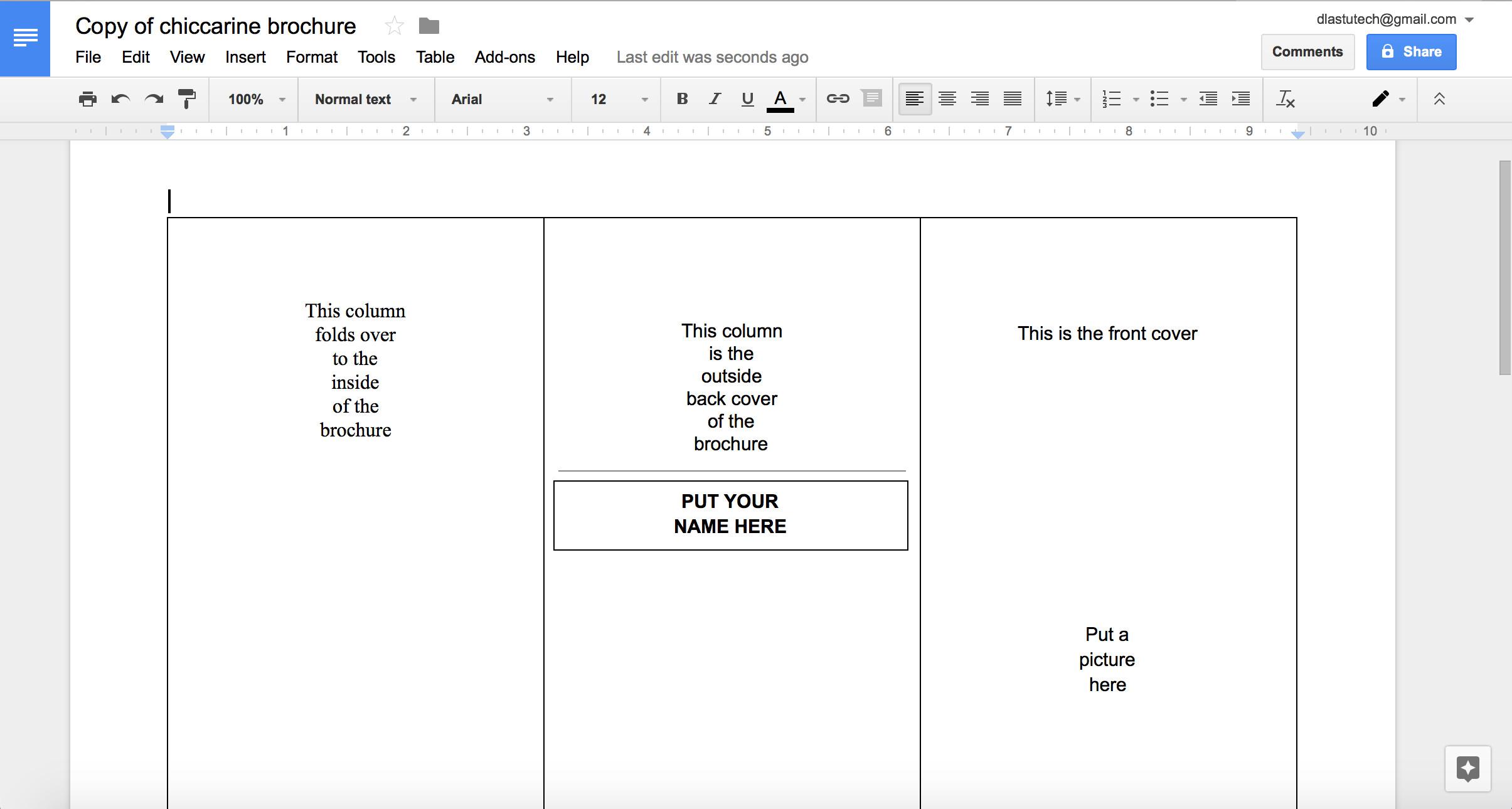 Google Docs Trifold Template Google Docs Brochure Template