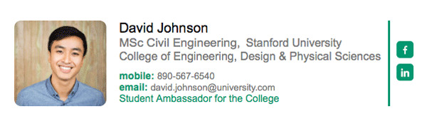 Grad Student Email Signature Email Signatures for University College and School