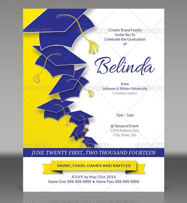 Graduation Party Invitation Template 25 Graduation Invitation Templates Psd Vector Eps Ai