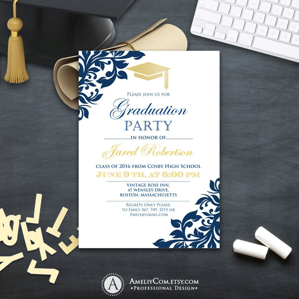 Graduation Party Invitation Template Graduation Party Invitation Сollege Printable Template Boy