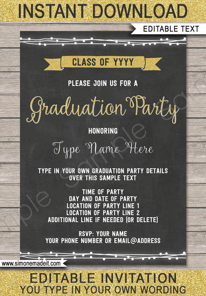 Graduation Party Invitation Template Graduation Party Printables Invitations & Decorations