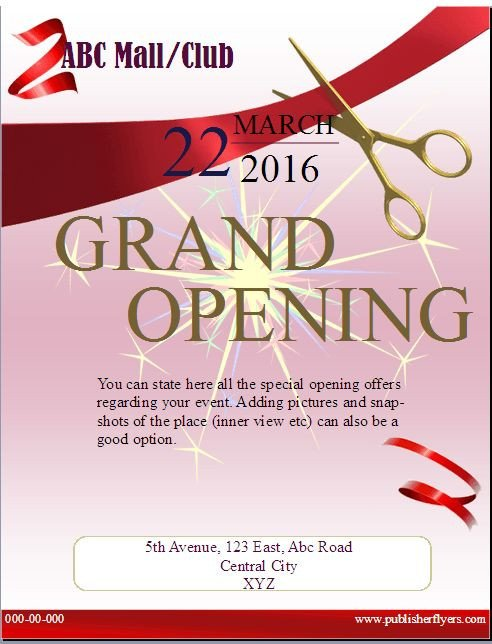 Grand Opening Flyer Template Free 20 Best Publisher Flyers Images On Pinterest