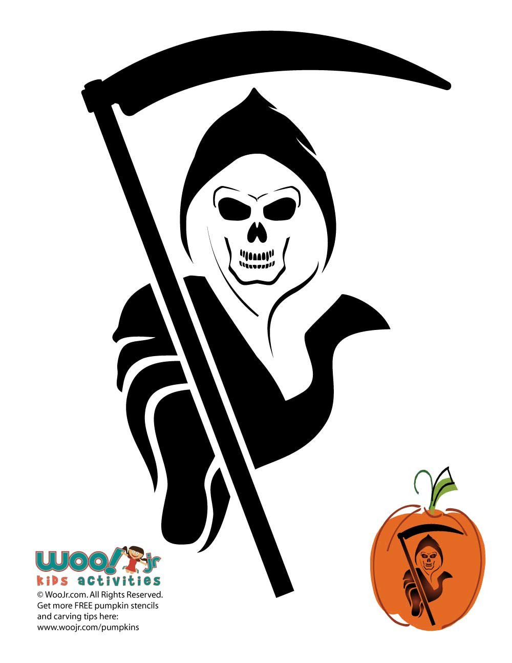Grim Reaper Pumpkin Template to Carve