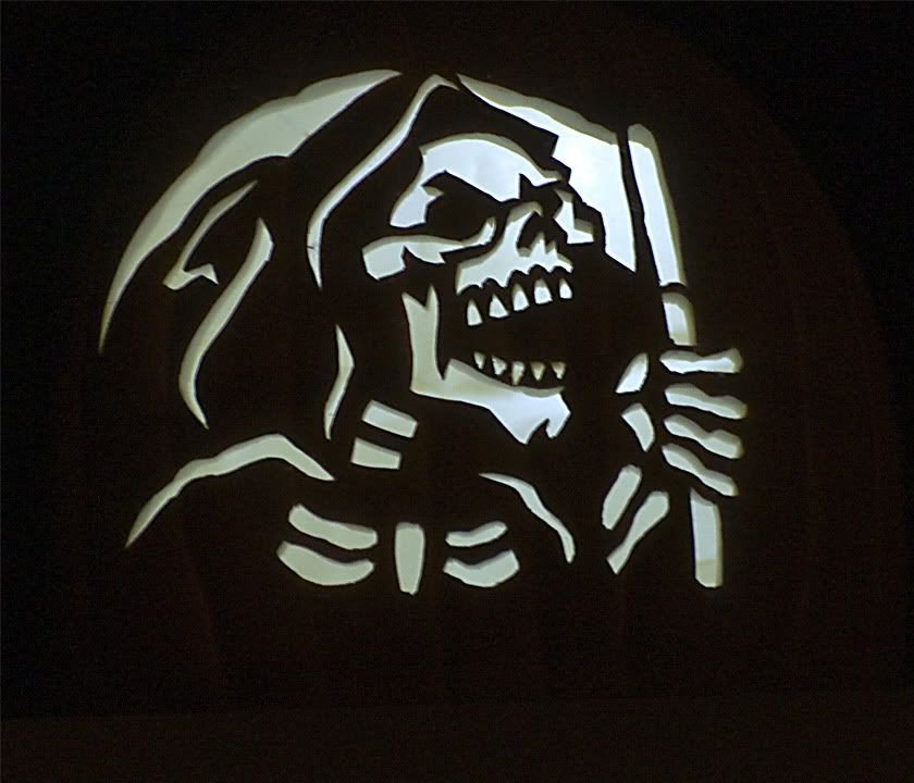 Grim Reaper Pumpkin Pattern New to Foam Carving My First Batch Update 10 23 12