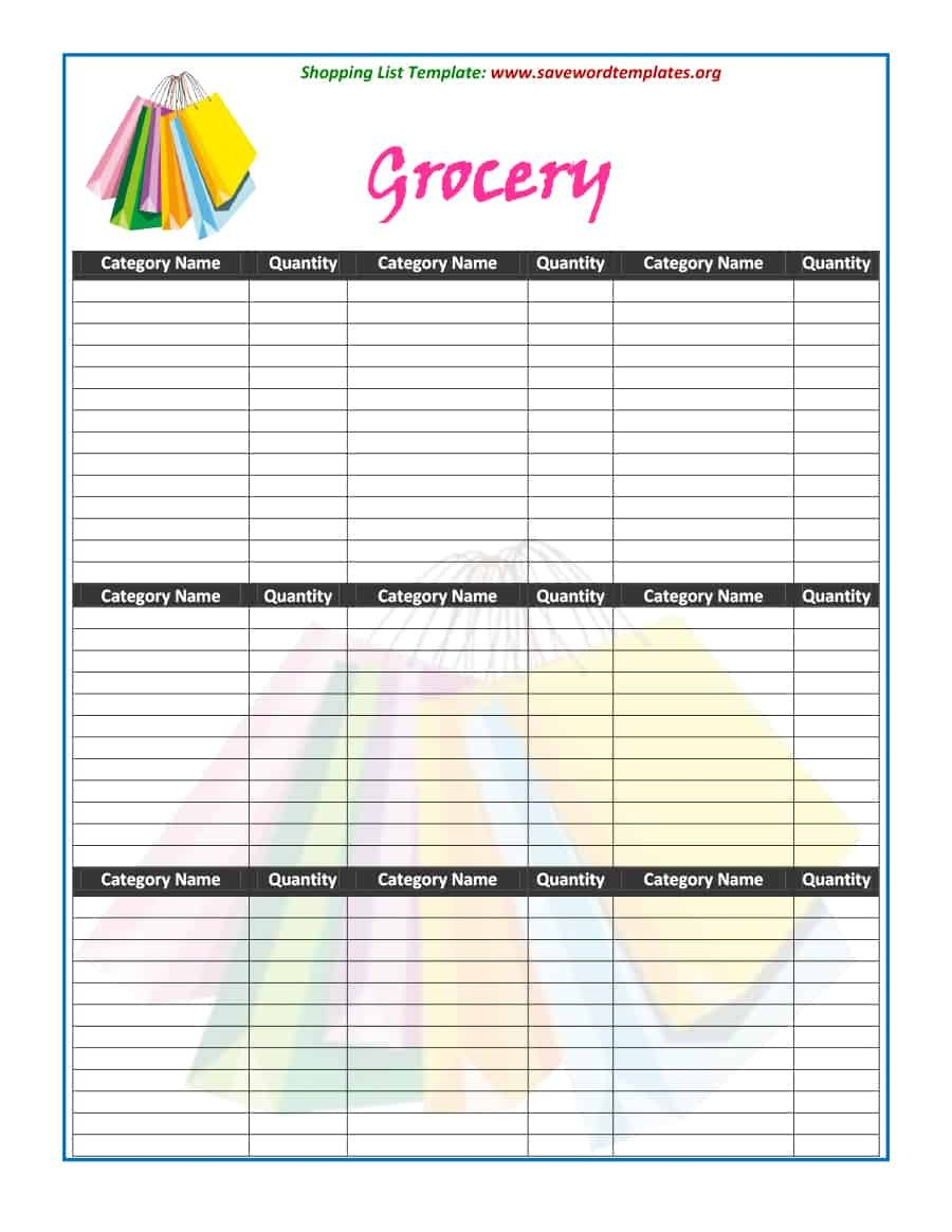 Grocery List Template Free 40 Printable Grocery List Templates Shopping List