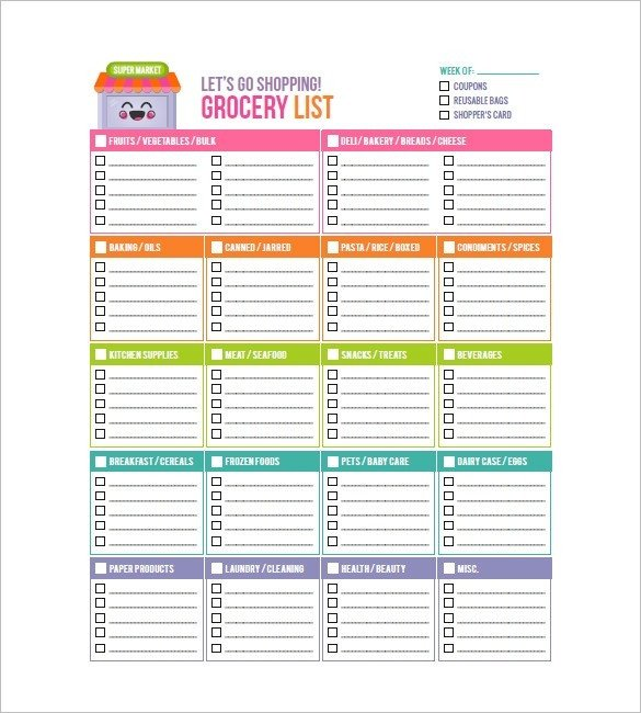 Grocery List Template Free Blank Grocery List