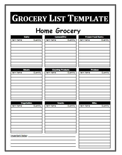Grocery List Template Free Daily Lists