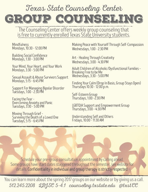 Group therapy Flyers Group Counseling Wel E to the Counseling Center