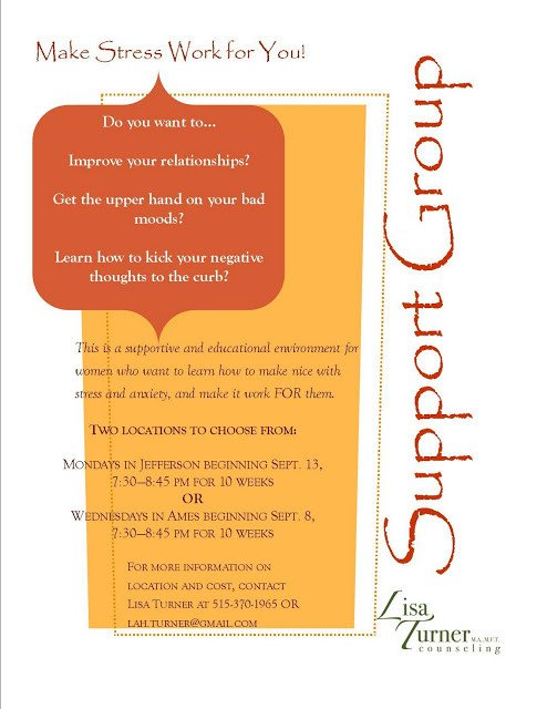 Group therapy Flyers Lisa Turner S Counseling Blog A Flyer for You