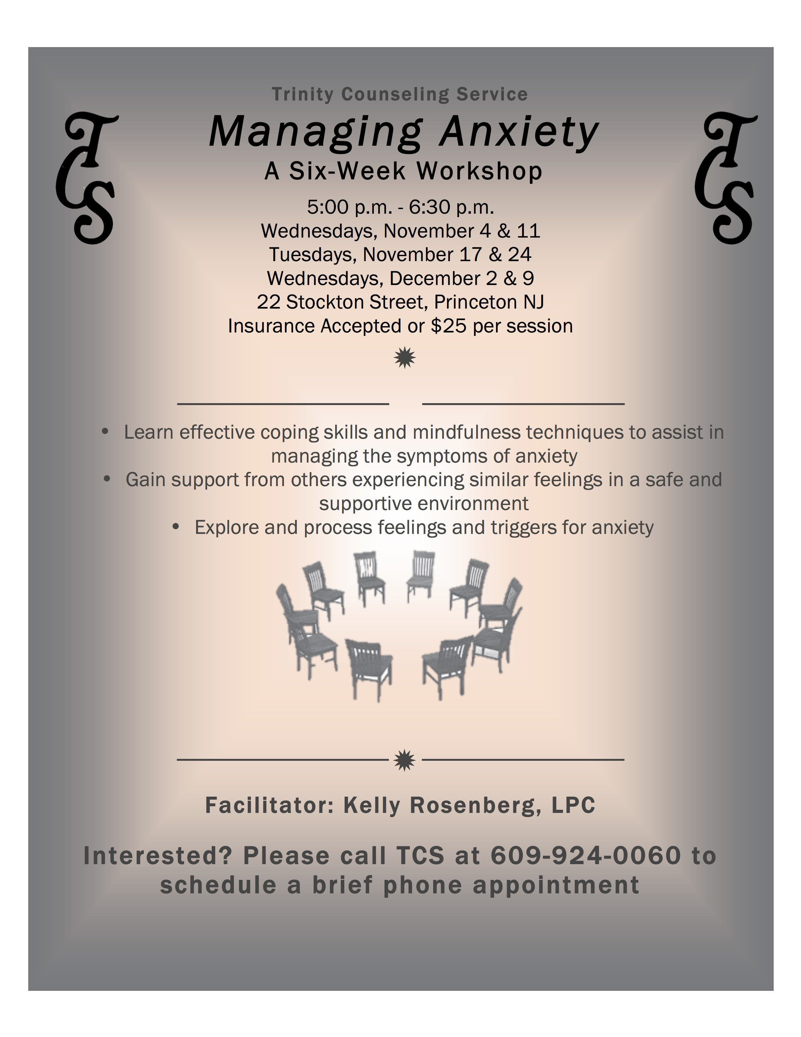 Group therapy Flyers Managing Anxiety A 6 Week Workshop