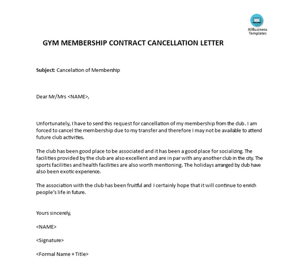 Gym Membership Cancellation Letter What is the Proper Way to Write A Cancellation Letter for