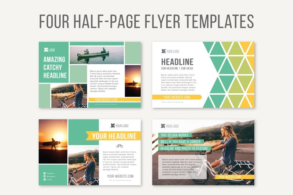 Four Half Page Flyer Templates Templates Creative Market